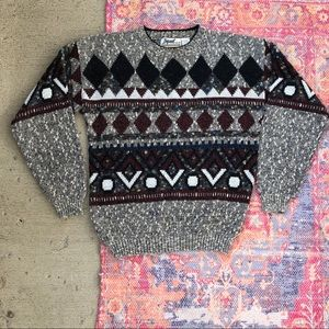 Vintage Impact knitted crewneck printed sweater